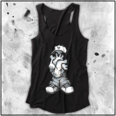 Ladies | Big Chris Art Markers- Heart Headed | Triblend Racerback Tank