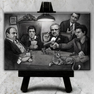 Gangster's Playing Poker Canvas (Black and White)