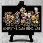 Where the Scary Things Are Canvas (Black Background)