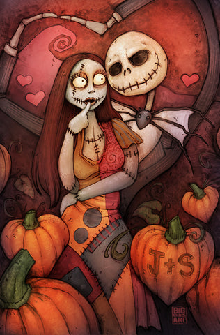 Nightmare Before Christmas Jack and Sally - 11x17 Print