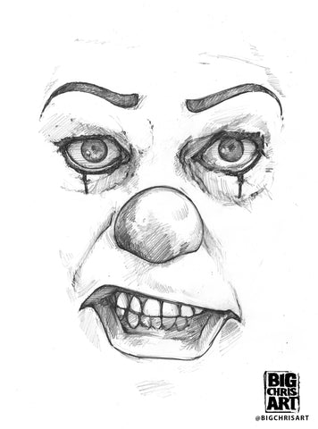 Original Art | Pennywise (Old) | Original Pencil Drawing