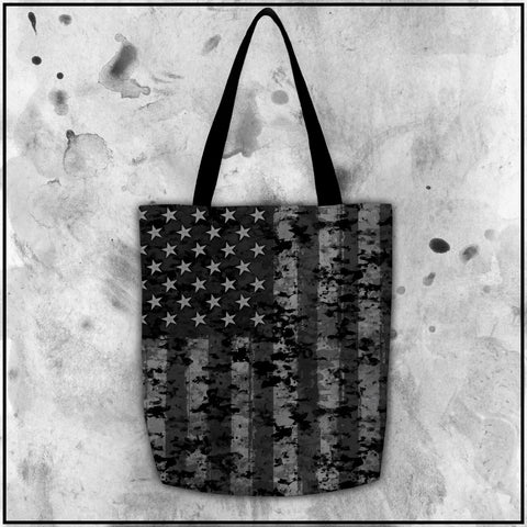 Patriot - American Flag Black and Grey Camo Tote Bag