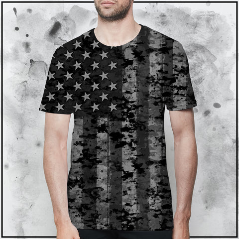 Patriot - American Flag Black and Grey Camo T-Shirt