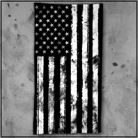 Patriot - American Flag Black and White Beach Towel