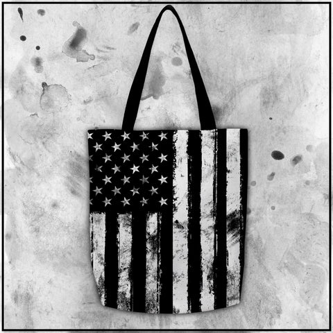Patriot - American Flag Black and White Tote Bag