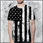 Patriot - American Flag Black and White T-Shirt