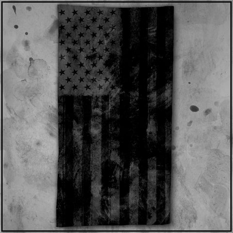 Patriot - American Flag Textured Black Beach Towel
