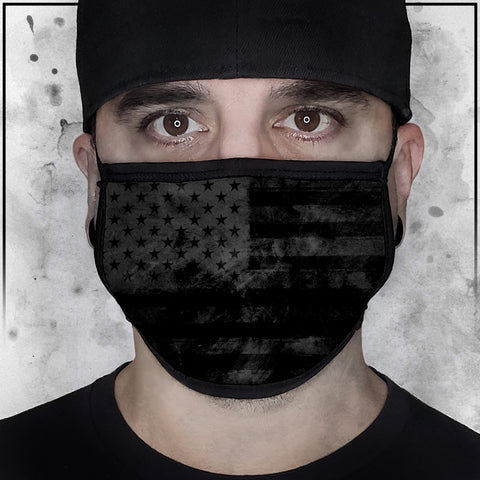 Patriot - American Flag Textured Black Face Mask