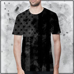 Patriot - American Flag Textured Black T-Shirt
