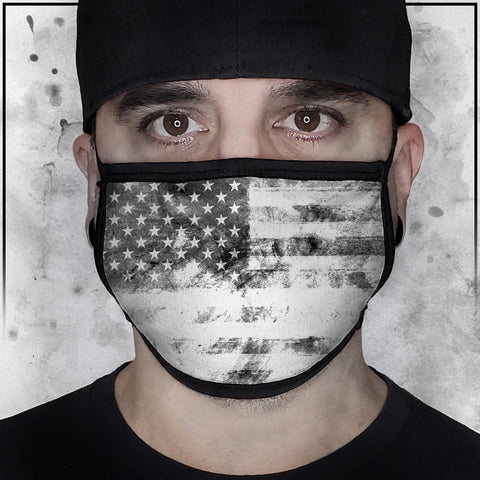 Patriot - American Flag Textured White Face Mask