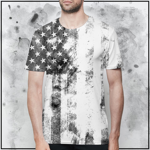 Patriot - American Flag Textured White T-Shirt