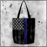 Patriot - American Flag Thin Blue Line Tote Bag