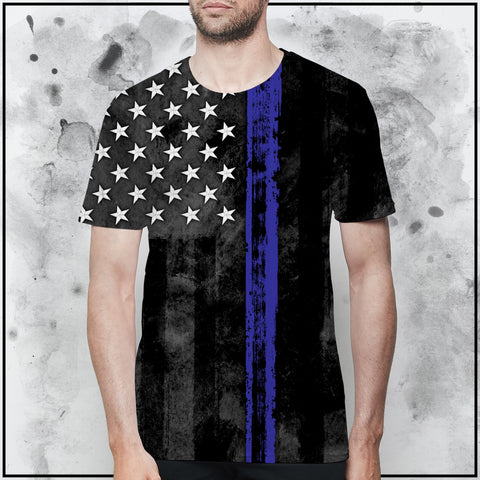 Patriot - American Flag Thin Blue Line T-Shirt