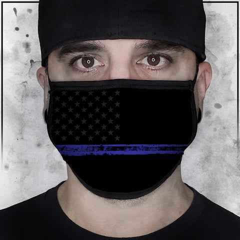 Patriot - American Flag Thin Blue Line II Face Mask