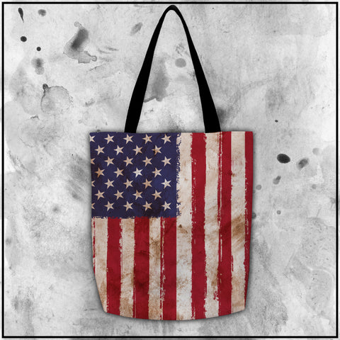 Patriot - American Flag Worn Tote Bag