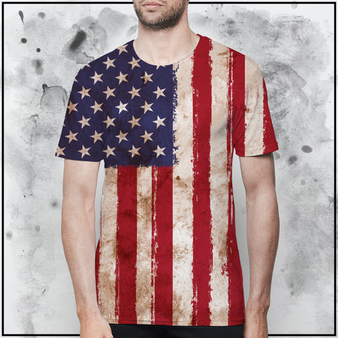 Patriot - American Flag Worn T-Shirt