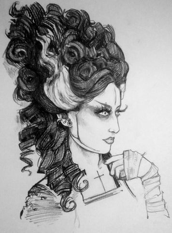 Bride Original Pencil Drawing