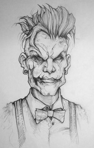 Hipster Joker Original Pencil Drawing