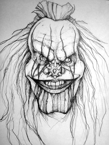 Clown Original Pencil Drawing
