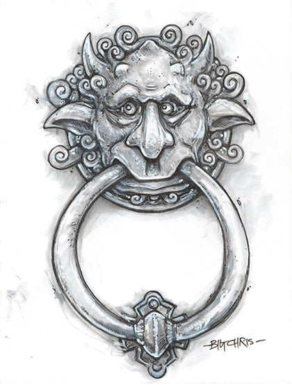 Right Door Knocker Original Black and White Marker Drawing