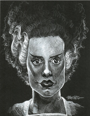 Original Art | Bride of Frankenstein | 6x8 Original Pencil Drawing