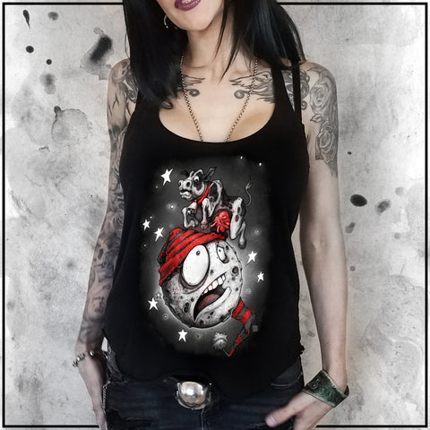 Ladies | Sinister Fables - Cow Jumping Over the Moon | Triblend Racerback Tank