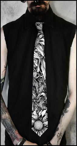 Ties to the Underworld - Apothic Floral Black and White Neck Tie