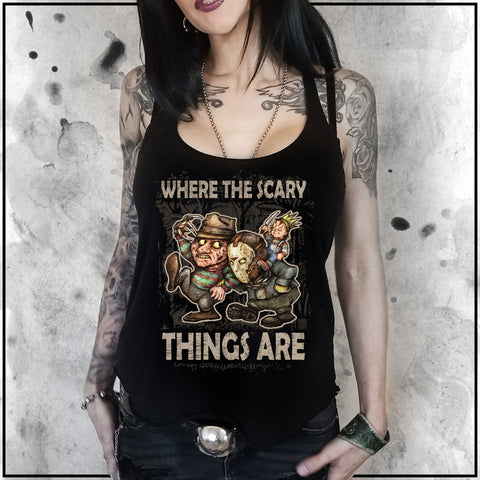 Ladies | Where the Scary Things Are 2 | Triblend Racerback Tank