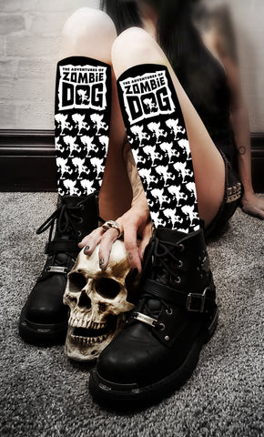 Zombie Dog Logo Black & White Socks