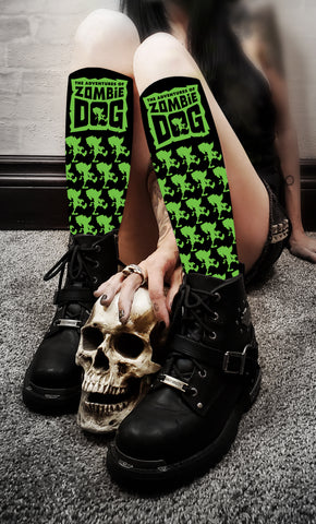 Zombie Dog Logo Black & Green Socks