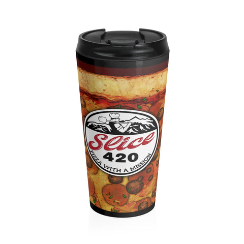 Slice 420 Pizza | Pepperoni & Sausag Logo | Stainless Steel Travel Mug