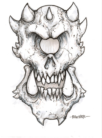 Big Christober | Cyclops Skull | 6x8 Original Marker Sketch
