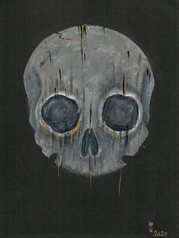 Big Christober | Dripping Skull | 6x8 Original Mixed Media Painting by Q Wood
