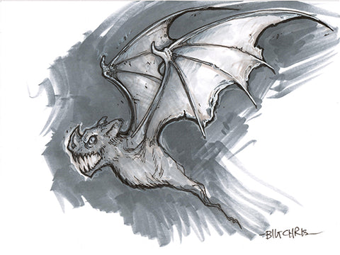 Big Christober | Flying Bat | 6x8 Original Marker Sketch