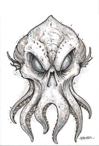 Big Christober | Octopus Skull | 6x8 Original Marker Sketch