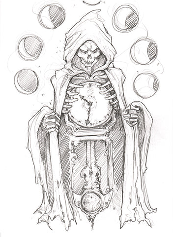 Big Christober | Grim Reaper Clock | 6x8 Original Pencil Sketch