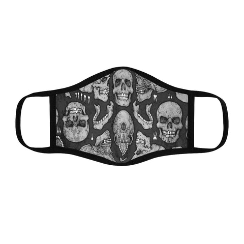 Apothic Ink | Skull Pattern - Light Grey | Fitted Polyester Face Mask