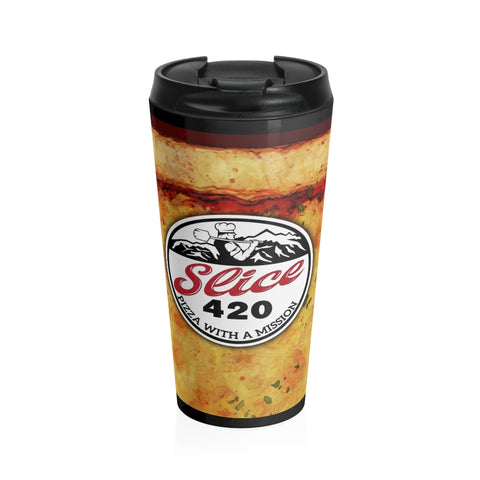 Slice 420 Pizza | Cheese & Logo | Stainless Steel Travel Mug