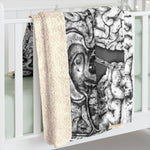 Apothic Ink | Anatomical Brain Pattern | Sherpa Fleece Blanket