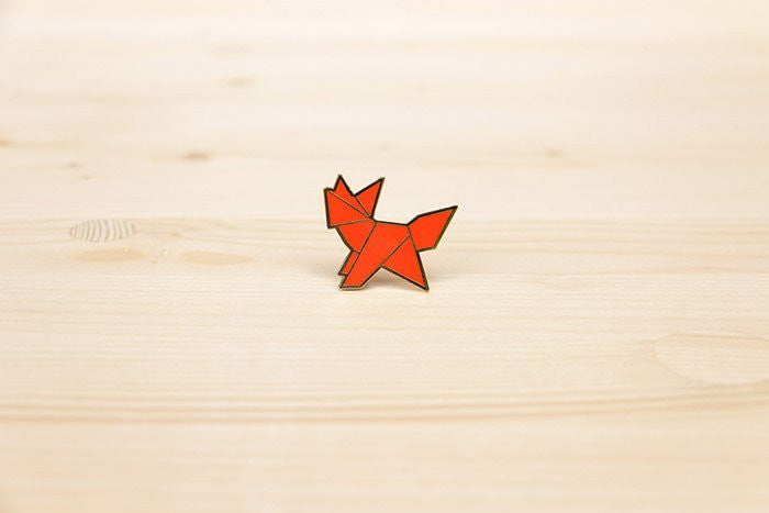 Origami Fox Brooch