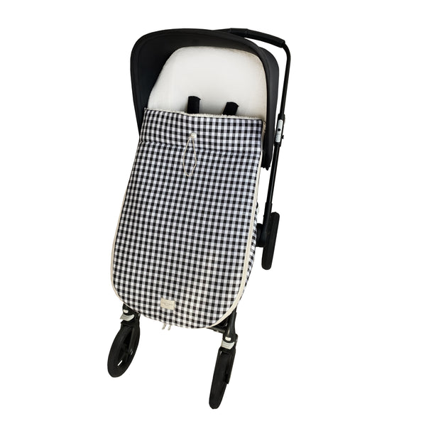 snowflake stroller footmuff - checked black