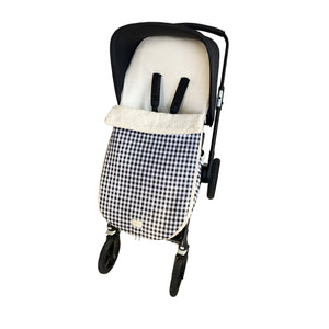 SNOWFLAKE STROLLER FOOTMUFF | CHECKED BLACK
