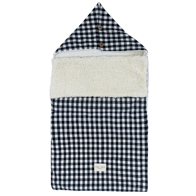 SNOWDROP FOOTMUFF | CHECKED BLACK