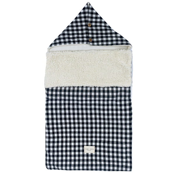 snowdrop footmuff - checked black