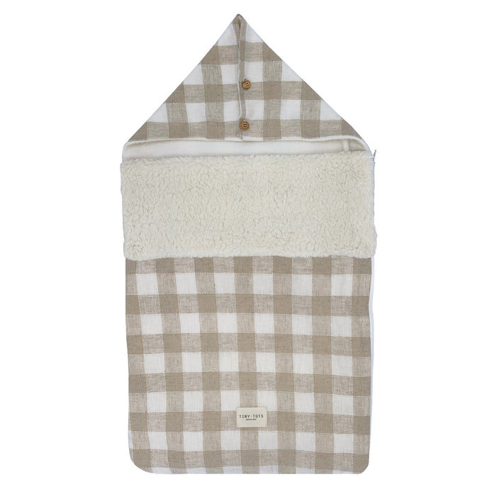 SNOWDROP FOOTMUFF | CHECKED LINEN SAND