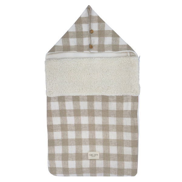snowdrop footmuff - checked linen sand