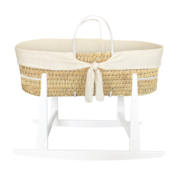 moses basket rocker - whisper cream