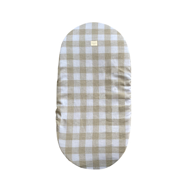moses basket cover - checked linen sand