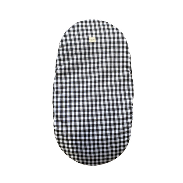 moses basket cover - checked black