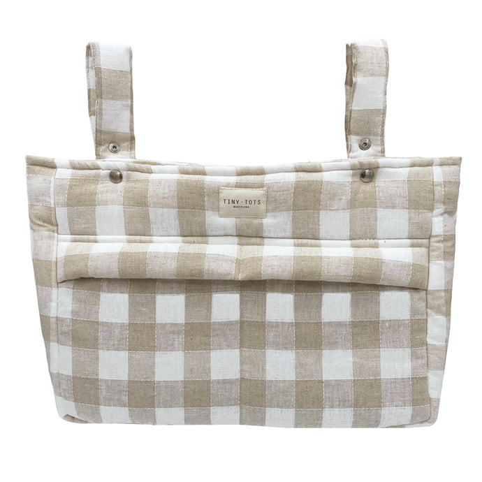 VIOLA STROLLER BAG | CHECKED LINEN SAND